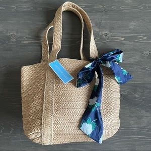 Draper James Everyday Straw Bag with Floral Scarf
